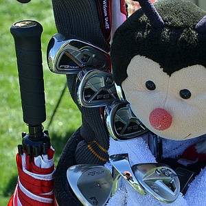 Padraig Harrington uses Wilson FG Tour irons, which were shielded from the sun at Bay Hill by a ladybug driver headcover.