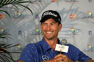 Adam Scott chats with the media during the Arnold Palmer Invitational on Wednesday at Bay Hill Lodge and Club.