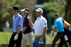 Graeme McDowell walks up No. 18 during the pro-am at the Arnold Palmer Invitational on Wednesday at Bay Hill Lodge and Club.