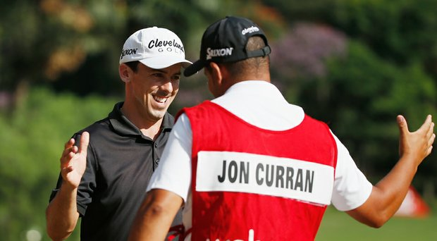 Jon Curran celebrates his win at the Web.com Tour's 2014 Brazil Champions.