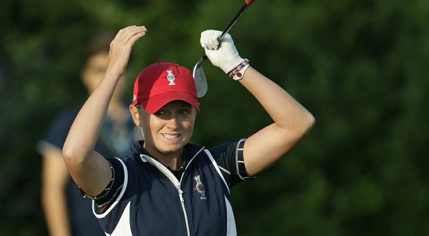 Stacy Lewis reacts to a bunker shot she hit during last year's Solheim Cup.