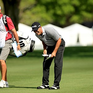 Billy Horschel doubles over in laughter at No. 9 at the Arnold Palmer Invitational during Round 1 at Bay Hill Lodge and Club.