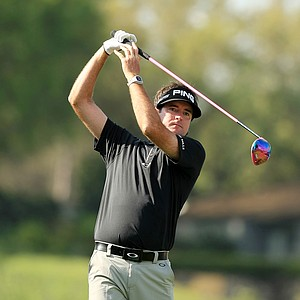 Bubba Watson hits a provisional at No. 18 at the Arnold Palmer Invitational during Round 1 at Bay Hill Lodge and Club.