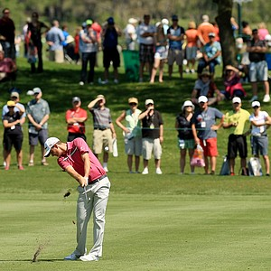 Justin Rose hits his second shot at No. 8 at the Arnold Palmer Invitational during Round 1 at Bay Hill Lodge and Club.