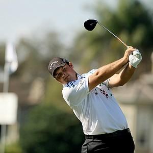 Patrick Reed hits his tee shot at No. 18 at the Arnold Palmer Invitational during Round 1 at Bay Hill Lodge and Club.