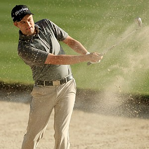 Russell Knox hits a shot out of the bunker at No. 16 at the Arnold Palmer Invitational during Round 1 at Bay Hill Lodge and Club.