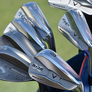 Stuart Appleby is still using Callaway's Razr X Muscleback irons. His Mack Daddy 2 wedges are adorned with an apple.