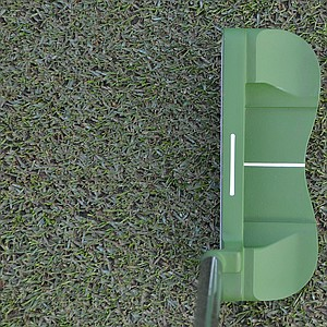 This Mantis B putter, which is designed to blend into the putting surface, was on the practice green and ready for pros to try.