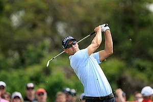 Adam Scott hits his tee shot at No. 3 during Round 2 of the Arnold Palmer Invitational Friday at Bay Hill Club and Lodge.