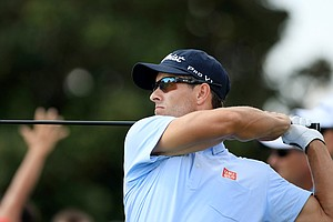 Adam Scott hits his tee shot at No. 9 during Round 2 of the Arnold Palmer Invitational at Bay Hill Lodge and Club.