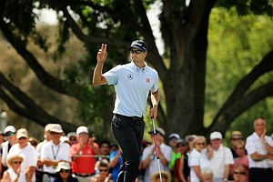 Adam Scott makes birdie at No. 9 during Round 2 of the Arnold Palmer Invitational at Bay Hill Lodge and Club.