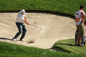 Jason Kokrak hits out of the greenside bunker at No. 18 during Round 2 of the Arnold Palmer Invitational at Bay Hill Lodge and Club.