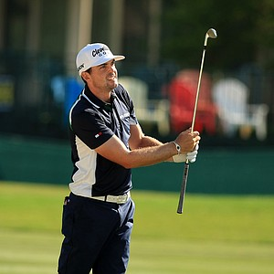 Keegan Bradley hits a shot at No. 16 during Round 2 of the Arnold Palmer Invitational at Bay Hill Lodge and Club.