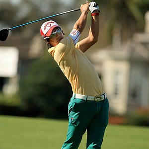 Ryo Ishakawa hits his tee shot at No. 18 during Round 2 of the Arnold Palmer Invitational at Bay Hill Lodge and Club.