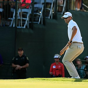 Adam Scott watches his shot at No. 17 in Round 3 of the Arnold Palmer Invitational at Bay Hill Lodge and Club.