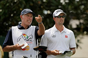 Adam Scott with caddie Steve Williams in Round 3 of the Arnold Palmer Invitational at Bay Hill Lodge and Club.