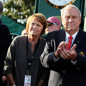 Arnold and Kit Palmer watch players at No. 18 during the final round of the Arnold Palmer Invitational at Bay Hill Lodge and Club.