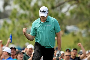 Jason Kokrak chips in at No. 5 during the final round of the Arnold Palmer Invitational at Bay Hill Lodge and Club.
