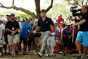 Matt Every watches his second shot at No. 16 during the final round of the Arnold Palmer Invitational at Bay Hill Lodge and Club.
