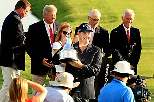 Matt Every holds the trophy after winning the Arnold Palmer Invitational at Bay Hill Lodge and Club.