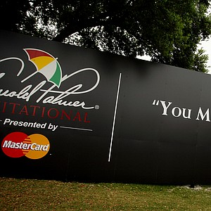 Large billboards displayed around the Arnold Palmer Invitational at Bay Hill Lodge and Club.