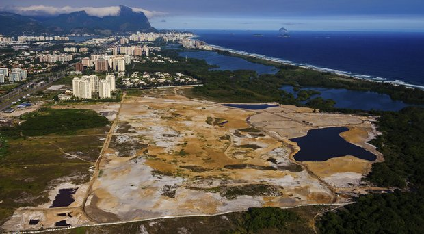 An aerial view of the Olympic golf course site Nov. 9, 2013, in the Barra da Tijuca section of Rio de Janeiro, Brazil.