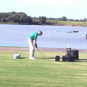 Ron Balicki gets in a little bit of practice on the range.