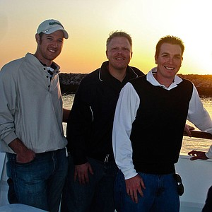 Ron Balicki (far right) with Golfweek colleagues current and former: Jared Clemons, Lance Ringler and Asher Wildman on a boat during the 2009 Battle of the Beach hosted by Long Beach State.