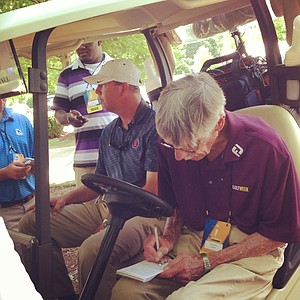 Ron Balicki hard at work while covering his 29th NCAA Championship last season at the Crabapple Course of the Capital City Club in Atlanta.
