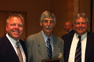 Ron Balicki was the first non-coach inducted into the GCAA Hall of Fame, shown here with Lance Ringler (left) and Jeff Babineau.