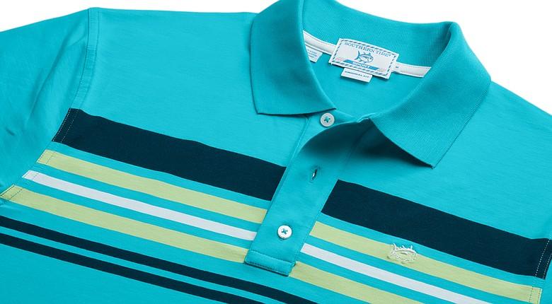 Southern Tide's Palmetto Island Stripe Sport Polo in scuba blue.