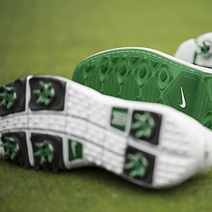 The bottom of the limited edition TW' 14, Lunar Control and Lunar Clayton golf shoes Nike athletes will wear at the 2014 Masters.