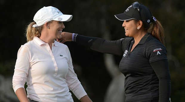 Co-leaders Cristie Kerr (left) and Lizette Salas embrace on the 18th hole after the third round of the Kia Classic in Carlsbad, Calif.