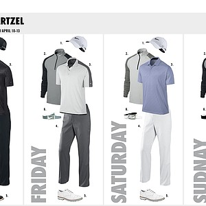 Charl Schwartzel's scripted apparel from Nike Golf for the 2014 Masters.
