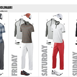 Francesco Molinari's scripted apparel from Nike Golf for the 2014 Masters.