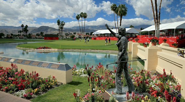 A view of the 18th green Tuesday during a practice round for the Kraft Nabisco Championship at the Dinah Shore Tournament Course at Mission Hills Country Club in Rancho Mirage, Calif.
