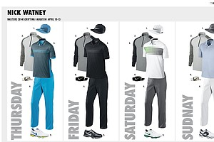 Nick Watney's scripted apparel from Nike Golf for the 2014 Masters.
