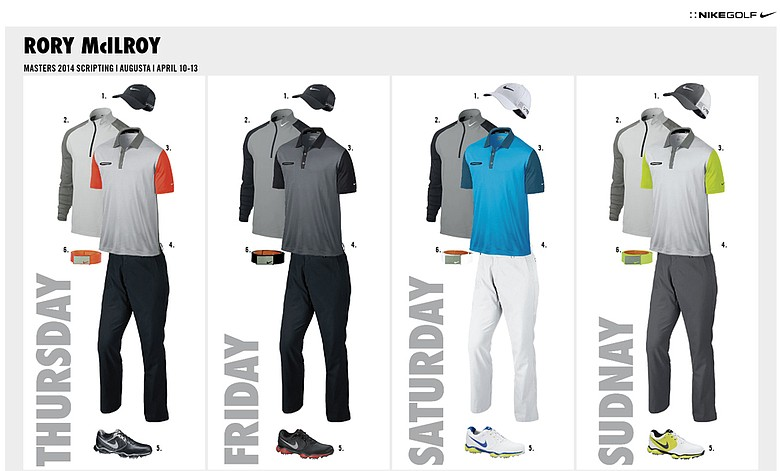 Rory McIlroy's scripted apparel from Nike Golf for the 2014 Masters.