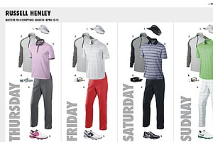 Russell Henley's scripted apparel from Nike Golf for the 2014 Masters.