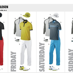 Thorbjorn Olesen's scripted apparel from Nike Golf for the 2014 Masters.