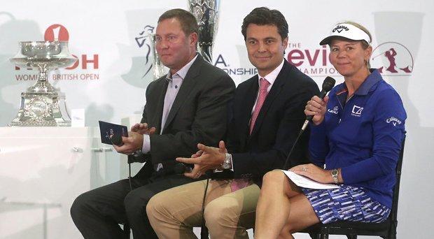 LPGA Hall of Famer Annika Sorenstam (right), Rolex Director of Communication Arnaud Boetsch (center) and LPGA Commiishioner Michael Whan talk at a press conference announcing the Rolex Annika Majors Award.