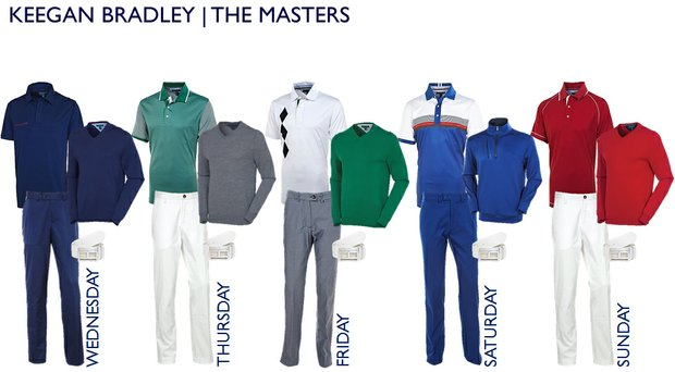 Keegan Bradley's scripted apparel from Tommy Hilfiger for the 2014 Masters.