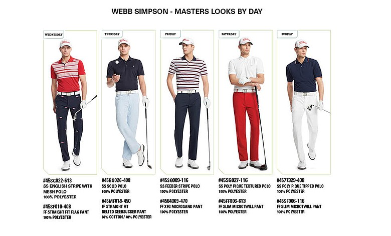 Webb Simpson's scripted apparel from Izod for the 2014 Masters.