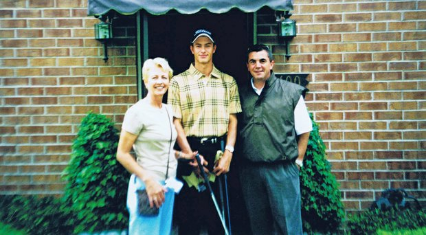 Adam Scott as a youngster with his mother, Pam, and father, Pat.