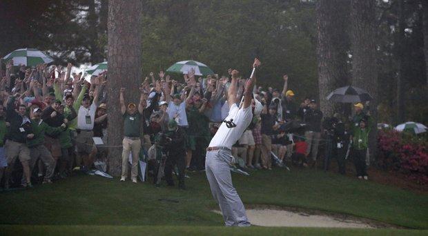 Adam Scott celebrates the winning putt at last year's Masters at Augusta National.