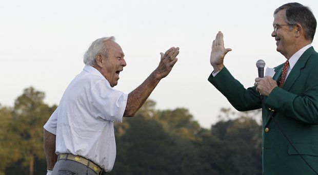 Arnold Palmer's ceremonial tee shot this year at Augusta National to open the 2014 Masters will mark the 50th anniversary of his last win in a major (Palmer shown here in 2012).