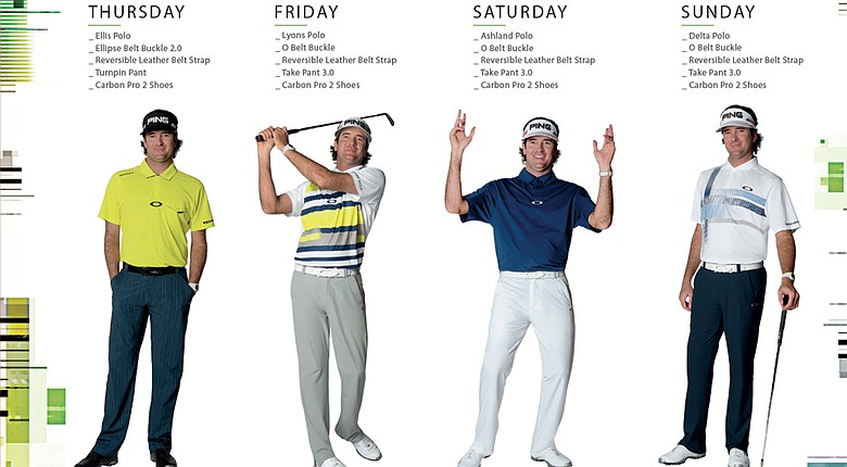 Bubba Watson's scripted apparel from Oakley for the 2014 Masters.