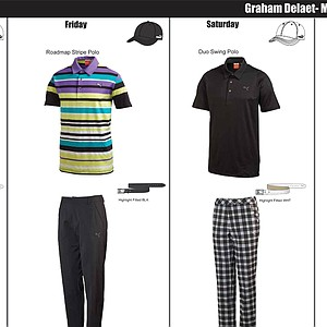 Graham DeLaet's scripted apparel from Puma Golf for the 2014 Masters.
