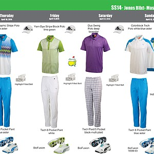 Jonas Blixt's scripted apparel from Puma Golf for the 2014 Masters.