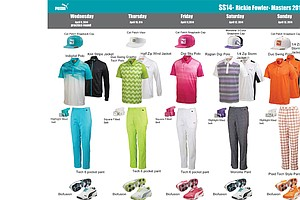 Rickie Fowler's scripted apparel from Puma Golf for the 2014 Masters.